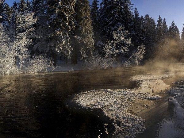 Суна в начале зимы