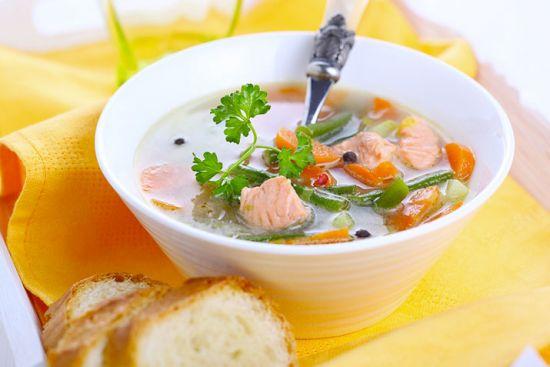 Суп с консервами из лосося
