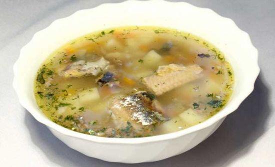 картофельный суп с горбушей
