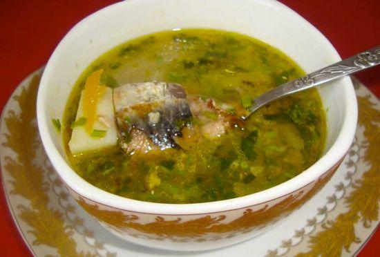 Грибной суп с консервированной горбушей
