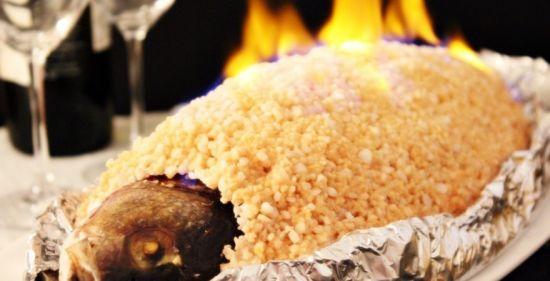 рыба в соли горит