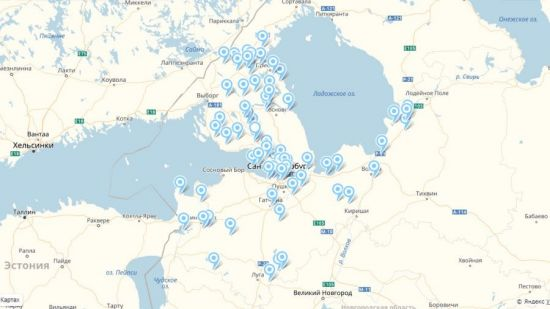 Карта популярных рыболовных мест