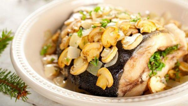 Рыба на пару с грибами