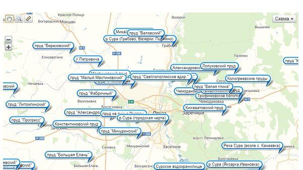Рыболовная карта Пензенской области