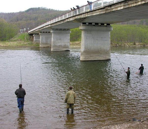 Спиннингисты под мостом