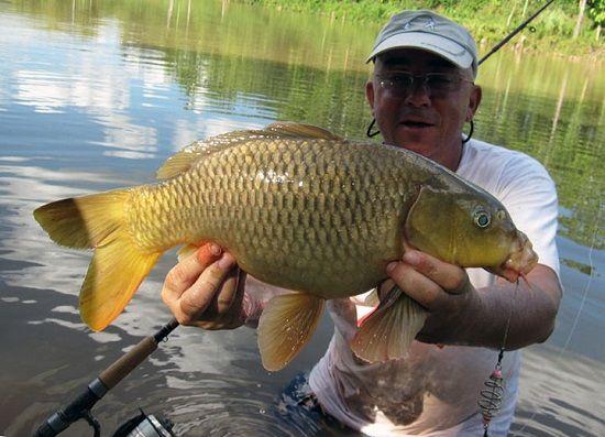Рыболов с карпом в руках