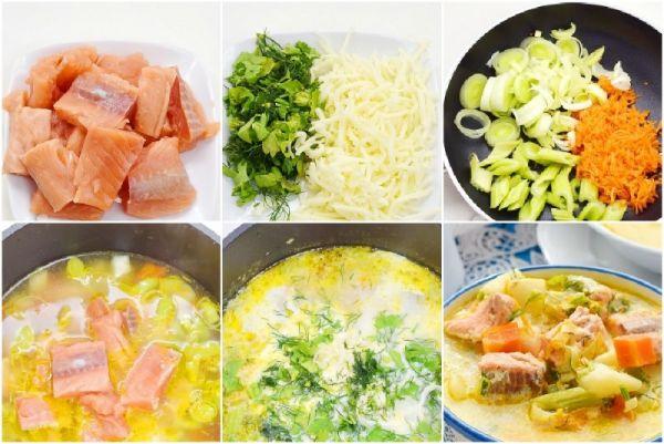 коллаж этапов приготовления супа