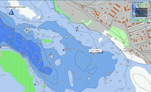 Карта глубин озера Вуокса