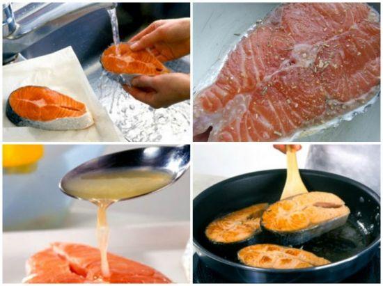 мытье рыбы и жарение
