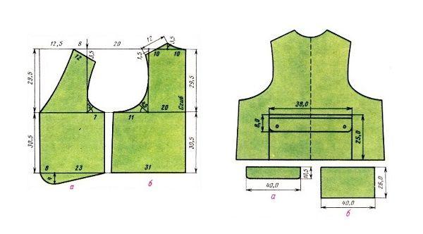 Выкройка полочки и спинки жилета