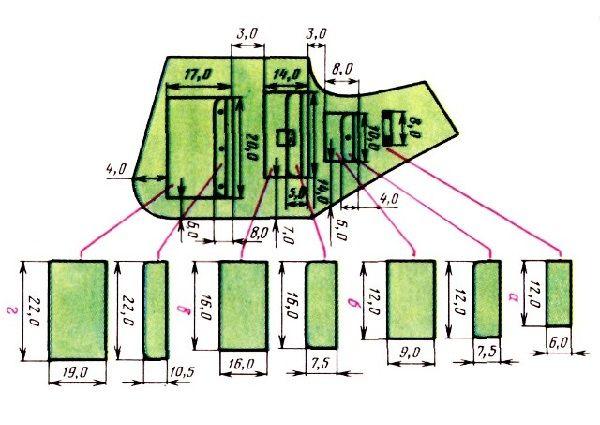 Схема расположения карманов