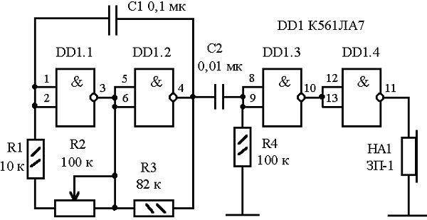 Схема акустической электронной приманки