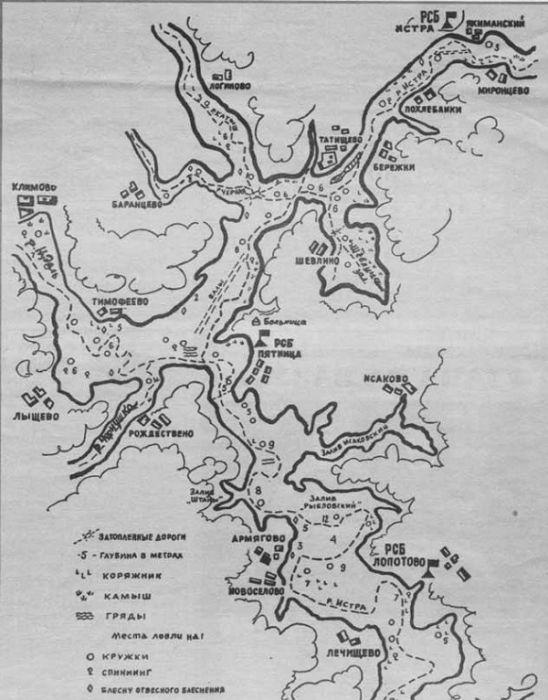 Карта Истринского водохранилища