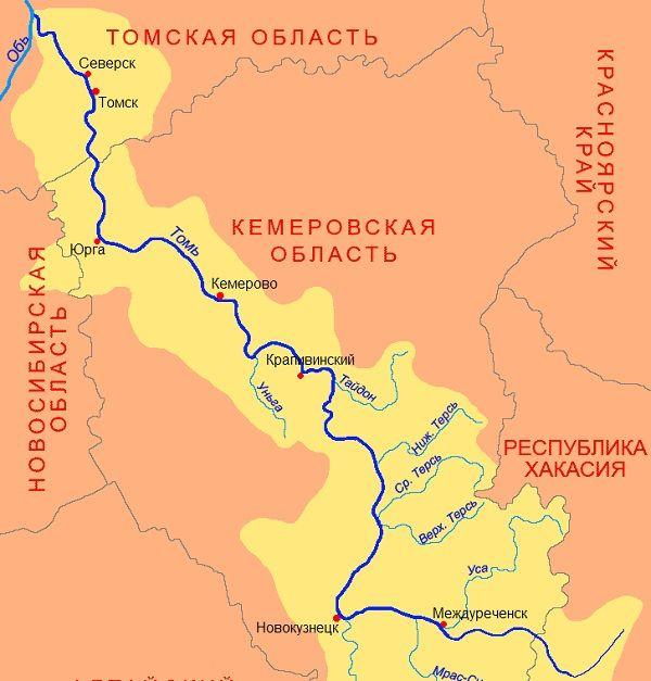 Томь на карте